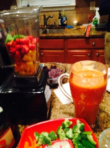 So George made mixed fruit and fresh carrot juice-ritas (our version of lemons to lemonade)